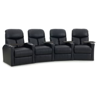 Octane Bolt XS400 Curved/ Power Recline/ Black Premium Leather Home Theater Seating (Row of 4)