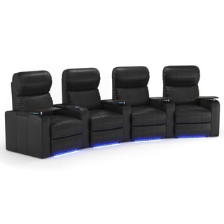 Octane Turbo XL700 Curved/ Manual Recline/ Black Bonded Leather Home Theater Seating (Row of 4)