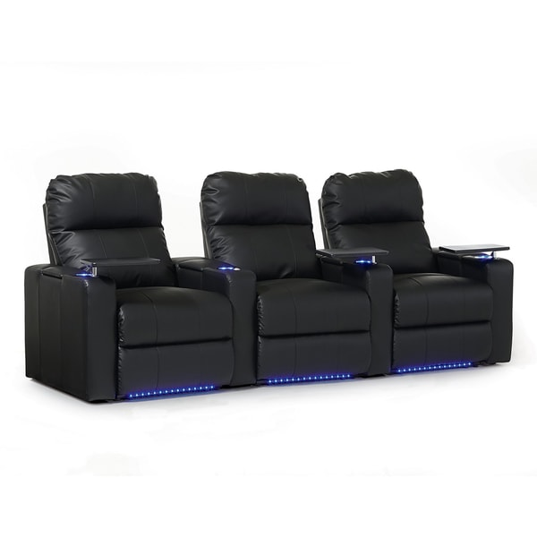 Octane Turbo XL700 Straight/ Power Recline/ Black Bonded Leather Home Theater Seating (Row of 3)