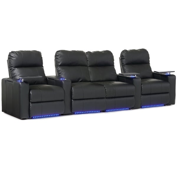 Octane Turbo XL700 Straight with Middle Loveseat/ Manual Recline/ Black Bonded Leather Home Theater Seating (Row of 4)