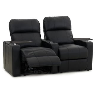 Octane Turbo XL700 Straight/ Manual Recline/ Black Bonded Leather Home Theater Seating (Row of 2)