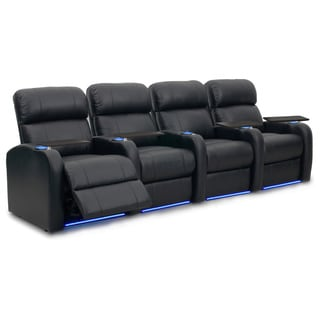 Octane Diesel XS950 Seats Straight/ Power Recline/ Black Premium Leather Home Theater Seating (Row of 4)