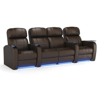 Octane Diesel XS950 Seats Straight with Middle Loveseat/ Power Recline/ Brown Premium Leather Home Theater Seating (Row of 4)