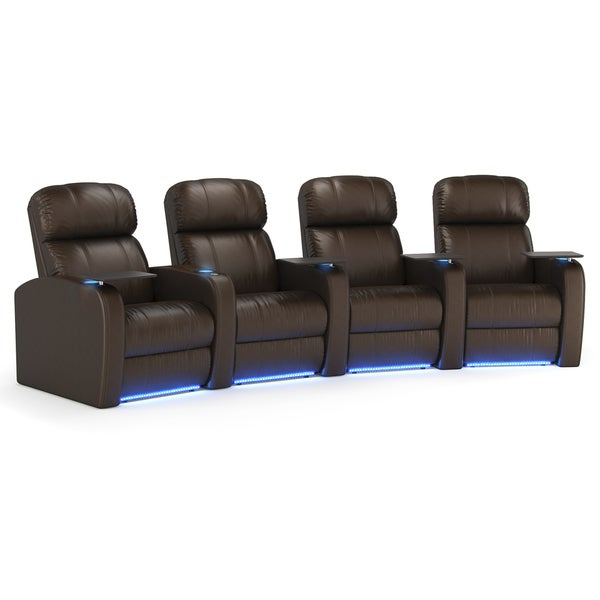 Octane Diesel XS950 Seats Curved/ Power Recline/ Brown Premium Leather Home Theater Seating (Row of 4)