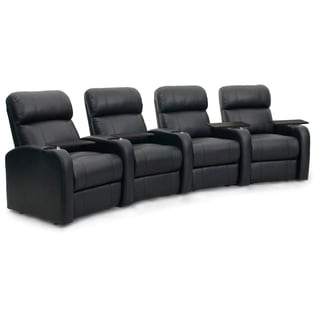 Octane Diesel XS950 Seats Curved/ Manual Recline/ Black Premium Leather Home Theater Seating (Row of 4)