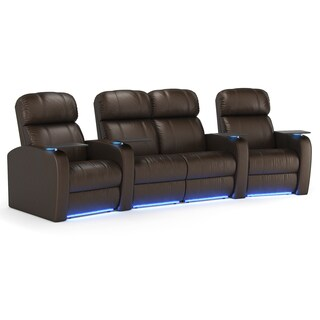Octane Diesel XS950 Seats Curved with Middle Loveseat/ Power Recline/ Brown Premium Leather Home Theater Seating (Row of 4)