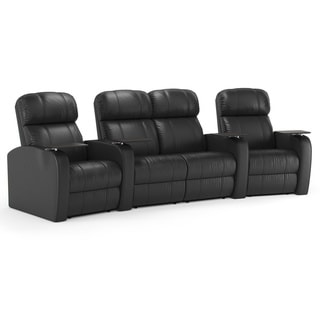 Octane Diesel XS950 Seats Curved with Middle Loveseat/ Manual Recline/ Black Premium Leather Home Theater Seating (Row of 4)