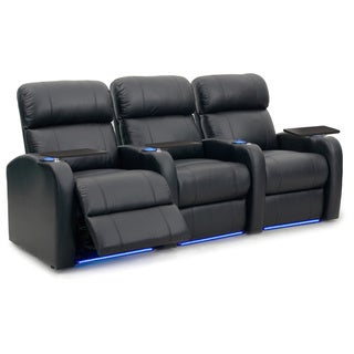Octane Diesel XS950 Seats Straight/ Power Recline/ Black Premium Leather Home Theater Seating (Row of 3)