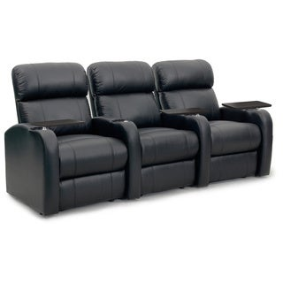 Octane Diesel XS950 Seats Straight/ Manual Recline/ Black Premium Leather Home Theater Seating (Row of 3)