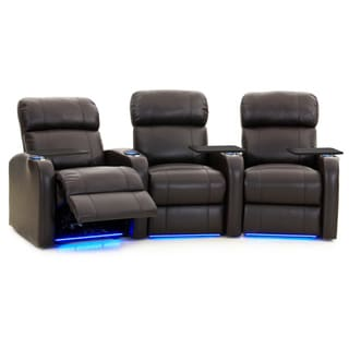Octane Diesel XS950 Seats Curved/ Power Recline/ Brown Premium Leather Home Theater Seating (Row of 3)