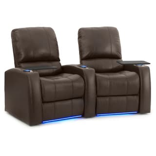 Octane Blaze XL900 Seats Curved/ Power Recline/ Brown Premium Leather Home Theater Seating (Row of 2)