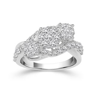 10k White Gold 1 1/4ct TDW Diamond Cluster Three Stone Ring (H-I, I2)