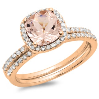 10k Rose Gold Cushion-cut Morganite and 1 3/4ct TDW Diamond Halo Bridal Ring Set (H-I, I1-I2)