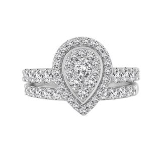 10k White Gold 1 1/2ct TDW Pear Composite Diamond Bridal Set (H-I, I2-I3)