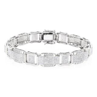 Luxurman 10k Gold Men's 3 2/5ct TDW Diamond Bracelet (H-I, SI1-SI2)