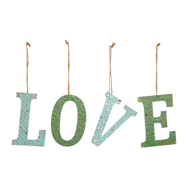 Tin -inchlove-inch Ornament with Jute String (Set of 4)