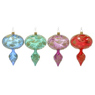 Rib Finial Drop Ornament Set of 4