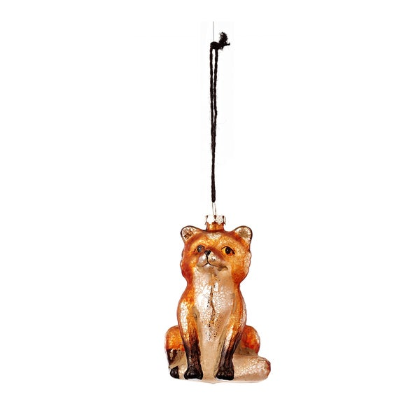 Antique Glass Sitting Fox Ornament 3.5-inch