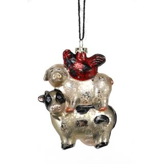 Antique Glass Cow Pig Hen Ornament 4.25-inch