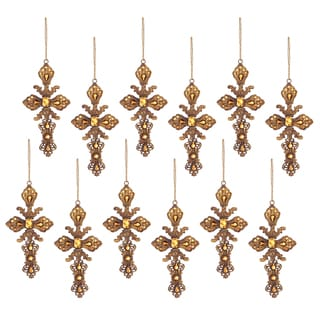 Metal Jeweled Cross 6.5-inch Ornament (Pack of 12)