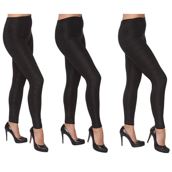 Women's Black Embossed Leggings (Pack of 3)