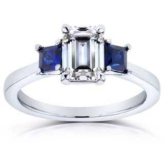 Annello 14k White Gold Emerald Cut Moissanite Blue Sapphire and Diamond Three Stone Engagement Ring (G-H, I1-I2)