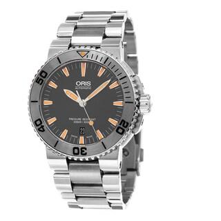 Oris Men's 733 7653 4158 MB 'Aquis' Grey Dial Stainless Steel Bracelet Swiss Automatic Watch