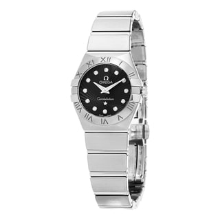 Omega Women's 123.10.24.60.51.001 'Constellation CC' Black Diamond Dial Stainless Steel Swiss Quartz Watch