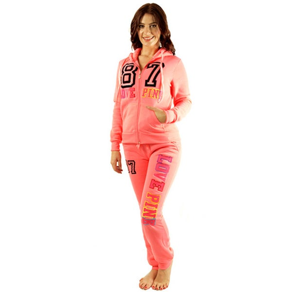 Women's Pink 'Love 87 Pink' Fleece Loungewear Set
