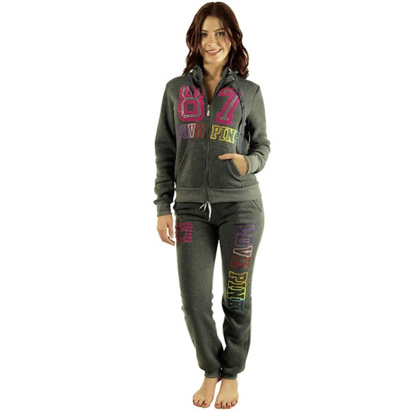 Women's 'Love 87 Pink' Charcoal Fleece Loungewear Set