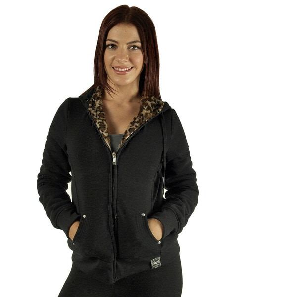 Women's Black Reversible Animal Print Faux Fur Hoodie Jacket