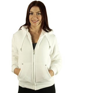 Women's White Reversible Faux Fur Lined Hoodie