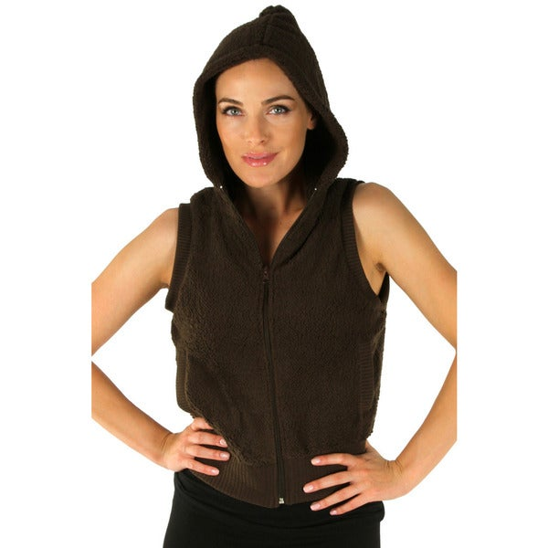 Women's Brown Hooded Fleece Vest