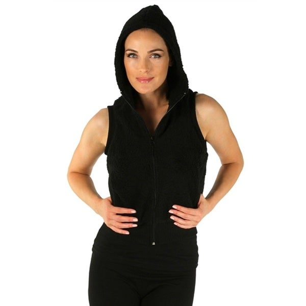 Women's Black Hooded Fleece Vest