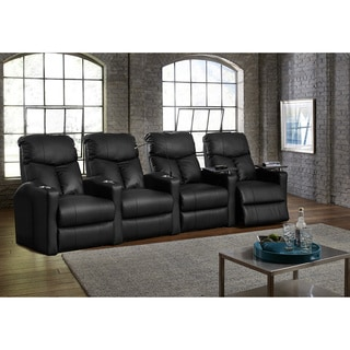 Octane Bolt XS400 Straight/ Power Recline/ Black Premium Leather Home Theater Seating (Row of 4)