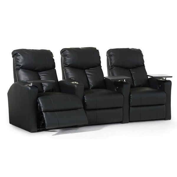 Octane Bolt XS400 Straight/ Power Recline/ Black Premium Leather Home Theater Seating (Row of 3)