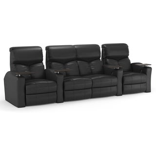 Octane Bolt XS400 Straight with Middle Loveseat/ Power Recline/ Black Bonded Leather Home Theater Seating (Row of 4)