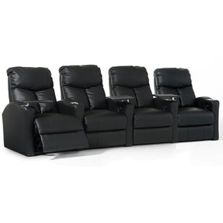 Octane Bolt XS400 Straight/ Power Recline/ Black Bonded Leather Home Theater Seating (Row of 4)