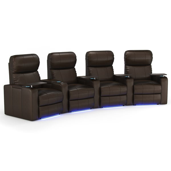 Octane Turbo XL700 Curved/ Power Recline/ Brown Premium Leather Home Theater Seating (Row of 4)
