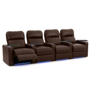 Octane Turbo XL700 Straight/ Power Recline/ Brown Premium Leather Home Theater Seating (Row of 4)