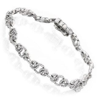 Luxurman 14k Gold 1 1/2ct TDW Pave Diamond Circle Bracelet (H-I, SI2-I1)