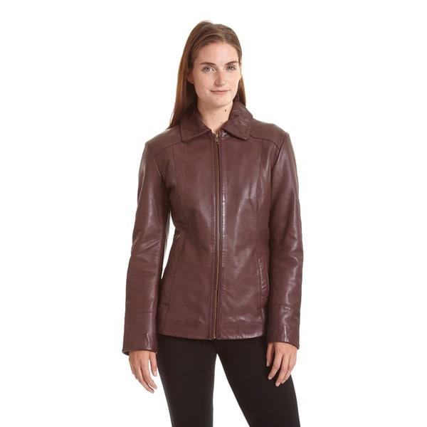 Excelled Women's Lambskin Zip Front Welt Pocket Scuba Jacket 16433910