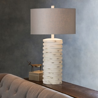 Contemporary Lewes Table Lamp with Natural Finish / White Washed Resin Base