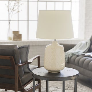 Contemporary Filey Table Lamp with Glazed Ceramic Base