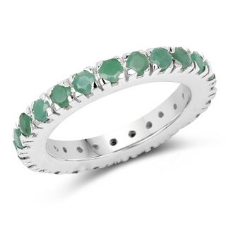 Malaika Sterling Silver 1 3/4ct Emerald Ring