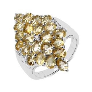 Olivia Leone Sterling Silver 3 1/2ct Citrine and White Topaz Ring