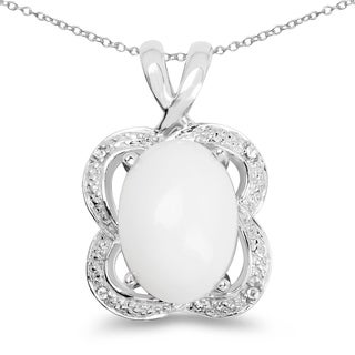Malaika Sterling Silver 5 5/8ct Opal and White Topaz Pendant