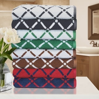 Superior Luxurious Reversible Diamonds 100% Cotton Bath Towels (Set of 2)