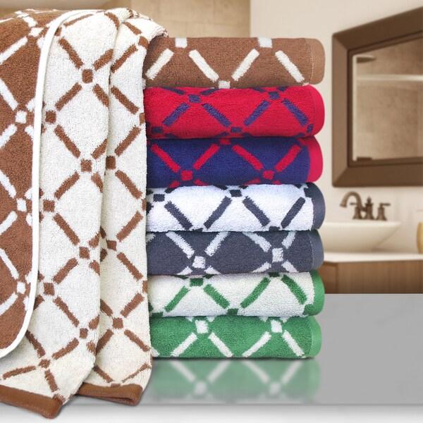 Superior Luxurious Diamond 100% Cotton Reversible Bath Sheets (Set of 2)