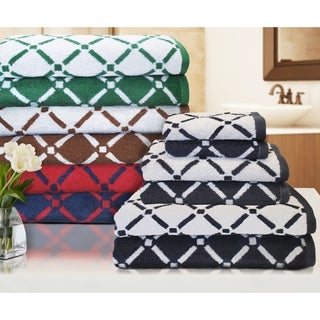 Superior Luxurious Reversible Diamond 100% Cotton 6-Piece Towel Set